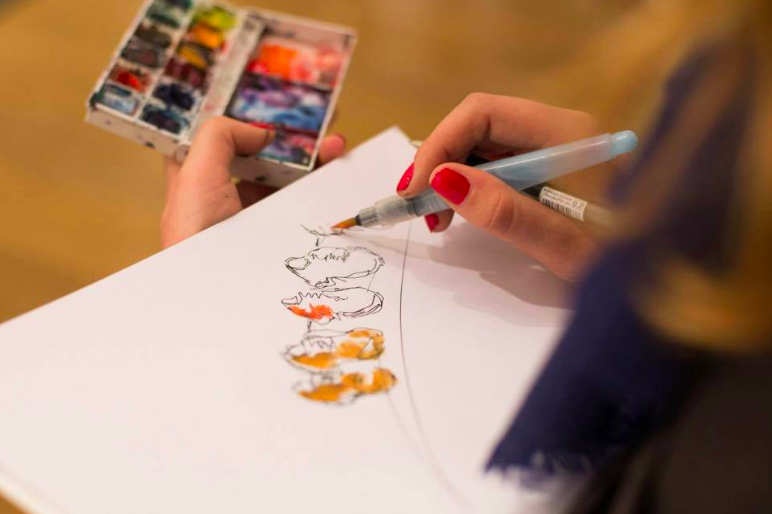 hand drawing with watercolour drawing shows in rainbow colour at Paul Smith